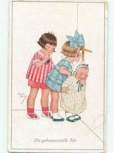 foreign 1926 signed GERMAN GIRLS SPYING AT THE KEYHOLE AC1510