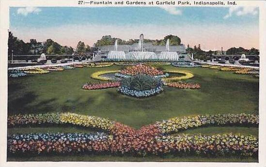 Indiana Indianapolis Fountain And Gardens At Garfield Park