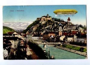 174121 AUSTRIA GRAZ Schlossberg dirigeable Vintage postcard