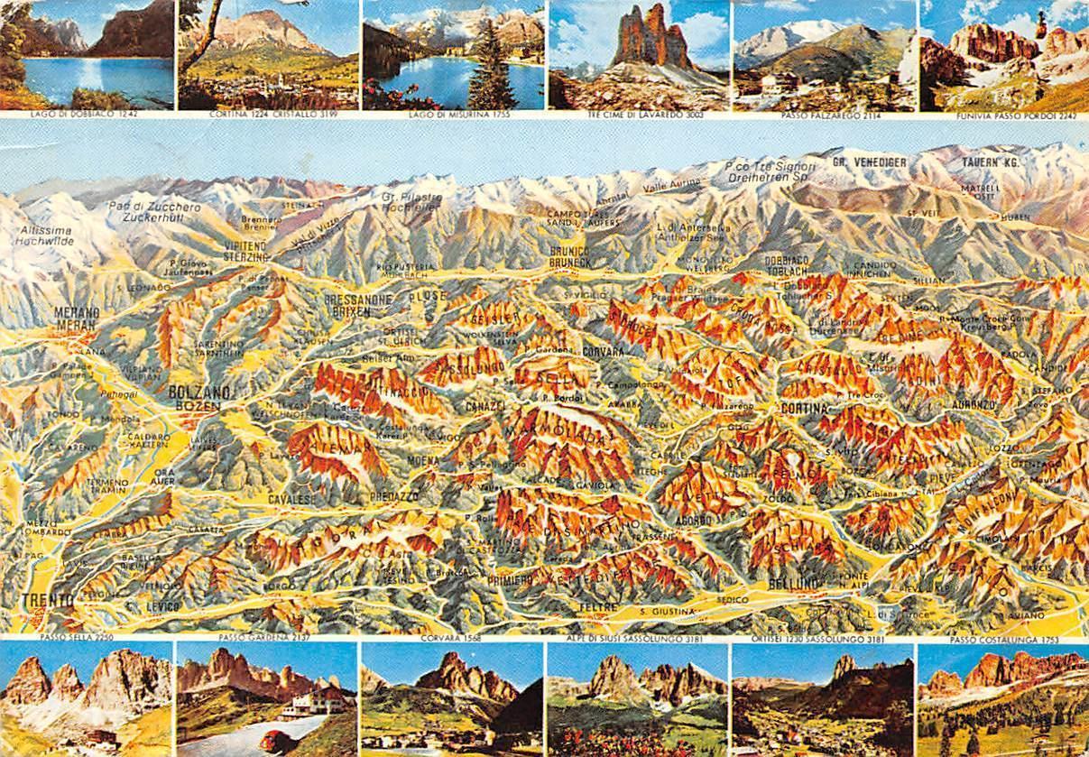 Italy Visione Aerea Delle Dolomiti Dolomiten Map Landkarte