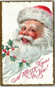 1910s Christmas Postcard Smiling Jolly SANTA CLAUS A Merry Xmas to You! UNUSED