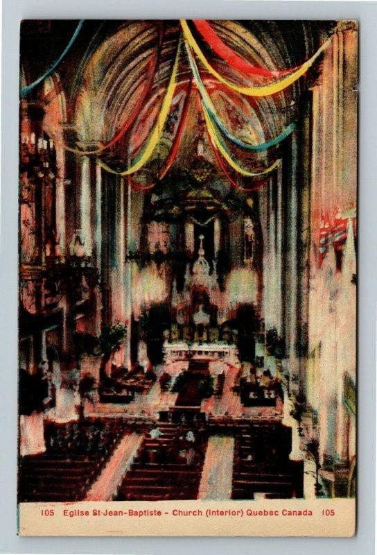 Quebec-Canada, Eglise St. Jean Baptiste Church, Interior View, Vintage Postcard
