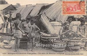 Un Coin de Marche Indigene African Nude 1921 Stamp on front