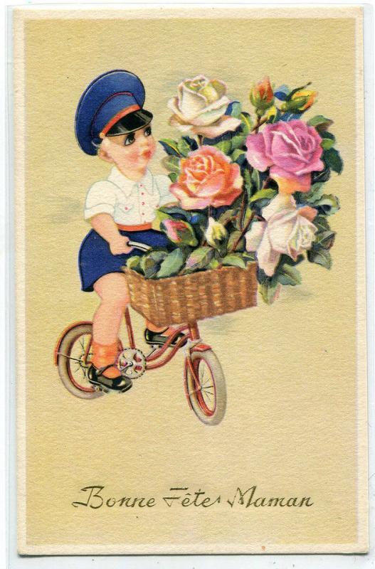 Bonne Fete Maman Happy Birthday Mom French Greeting postcard