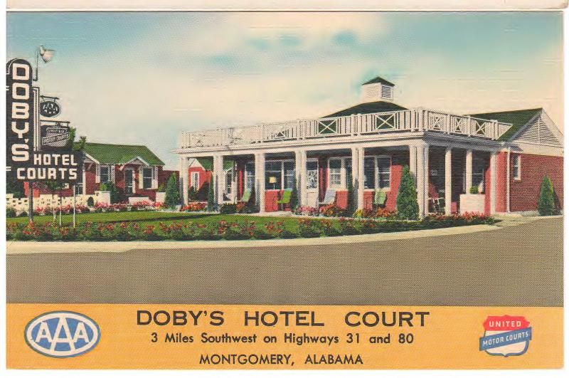 MONTGOMERY ALABAMA UNITED MOTOR COURTS DOBY HOTEL COURT LINEN POSTCARD
