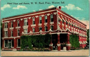 1910s Warsaw, Indiana Postcard HOTEL HAYS and Annex, W.W. Reed, Prop. Unused