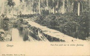 Belgian Congo Belge vue d`un pont sur la riviere Bombay river bridge