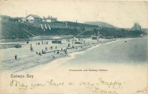 Colwyn Bay Promenada and Railway Station Wales 1904 postcard