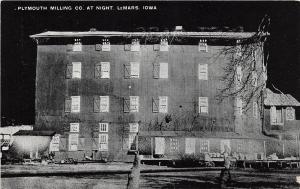 D19/ Lemars Iowa Ia Postcard c1940s Plymouth Milling Mill Company Night