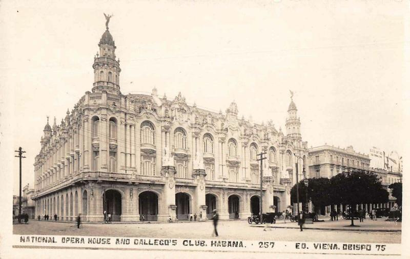 Habana Cuba Opera House and Callego's Club Real Photo Vintage Postcard JE229766