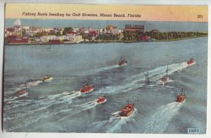 P1025 1947 fishing boats heading gulf stream miami beach florida, dog track sign