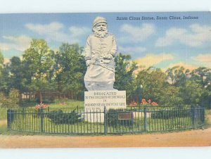 Linen MONUMENT Santa Claus - Near Boonville & Tell City & Evansville IN AE7662