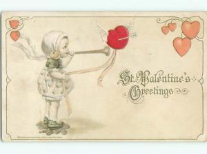 Pre-Linen valentine GIRL BLOWS HORN BESIDE PIERCED HEART J1063