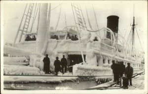 Juneau Alaska AK Steamship Ship Northwestern Covered in Ice c1920s RPPC