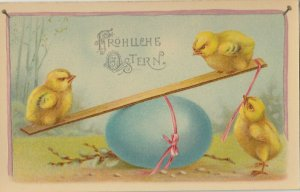EASTER chicks , 1900-10s ; Playing w/Blue Egg SEE-SAW