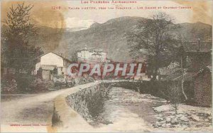 Old Postcard Vallee Aston near the Canarries Factories and Chateau Verdun