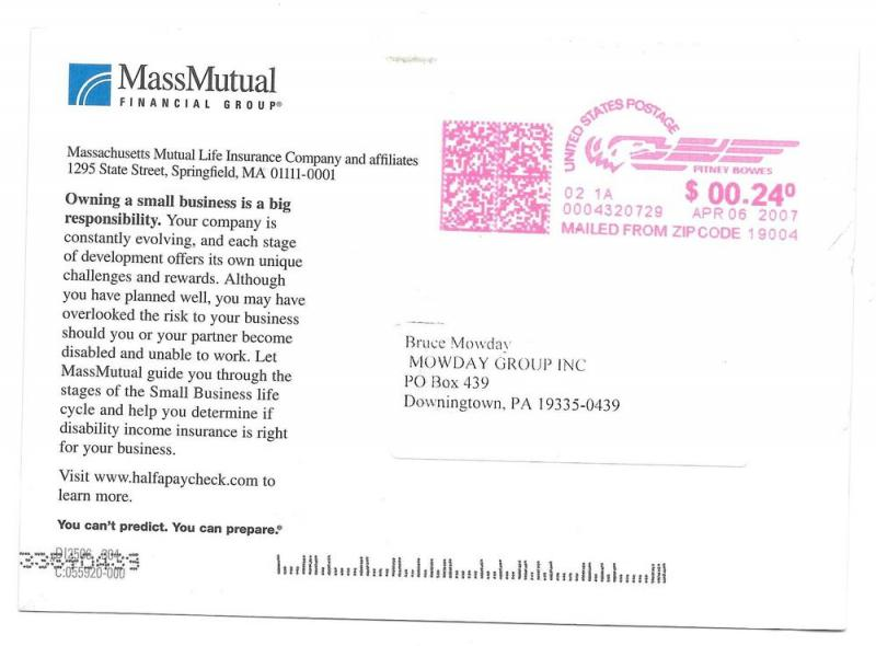 Insurance Ad Postcard Mass Mutual Life cycle Small Business
