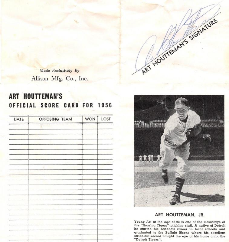 Detroit Tigers 1950 Autographed Scorecard~19-Game Winner All-Star Houtteman~Pict
