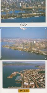 Vigo Harbour Docks Fishing Boat Spain 3x Rare Birds Eye Aerial 1980s Postcard s
