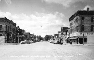 F53/ Blair Nebraska RPPC Postcard c1940s Main Street Blue Goose Store