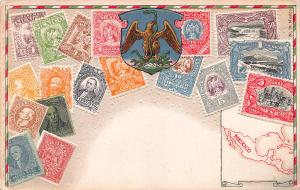 Mexico, Classic Stamps in Actual Colors, Early Embossed Postcard, Used in 1909
