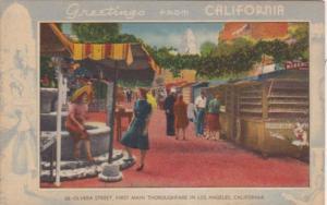 Greetings From California Olvera Street Blue Border 1959