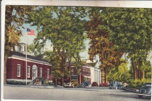 P1906 vintage postcard old cars west side common plymouth new hampshire unused
