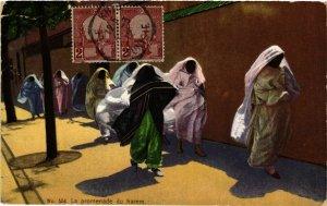 CPA Lehnert & Landrock 554 La promenade du harem TUNISIE (873839)
