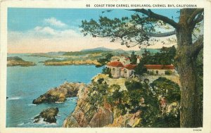 Beautiful View Carmel Highlands Coast Highway Postcard Teich linen 20-2786