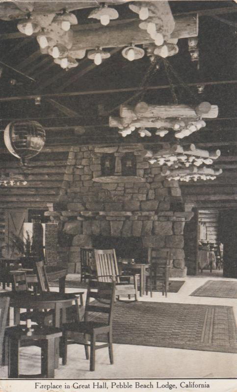 MONTEREY, California, 1900-1910's; Fireplace in Great Hall, Pebble Beach Lodge