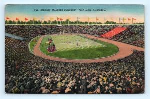 Postcard CA Palo Alto Stanford University Football Stadium Vintage Linen R61