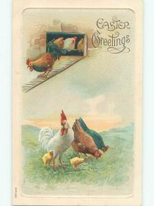 Divided-Back EASTER CHICK SCENE Cute Postcard AA0888