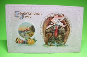 Thanksgiving Postcard Child Holding Knife M132 Chef Child Rides Turkey Antique