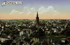 germany, DÜREN, Rhl., Panorama mit Kirche (1910s)