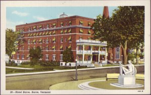 BARRE - HOTEL BARRE - View shows building from across the granite statue, 1940s