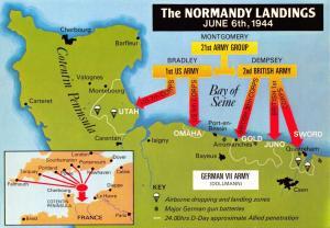 New Map Postcard WW2 World War 2 The Normandy Landings June 6th 1944