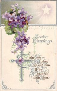 Embossed Easter Blessings! Violets, Star Shine, Cross, Greetings