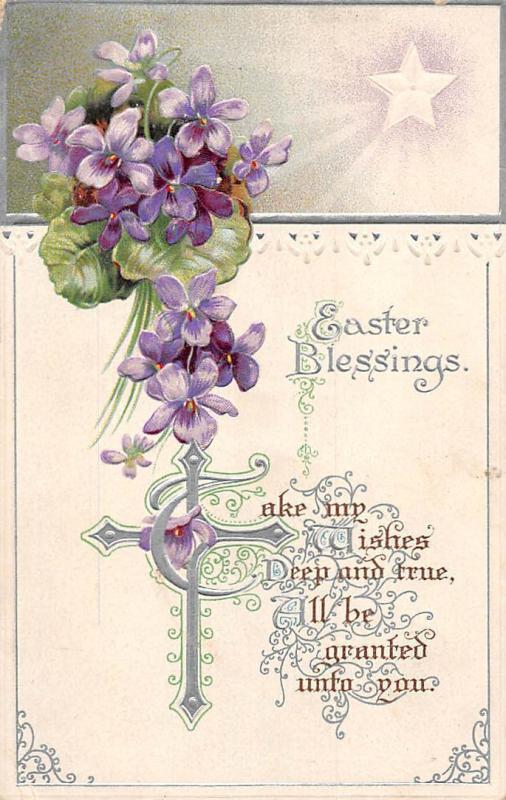 Embossed Easter Blessings! Violets, Star Shine, Cross, Greetings
