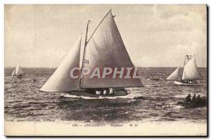 Old Postcard Boat Sailboat Regattas Arcachon