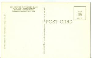 Entrance to Wellesley Island State Park, New York, Postcard
