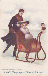 Two's Crowd Three's Allowed, Man skiing pushing woman in a sleigh, 1905