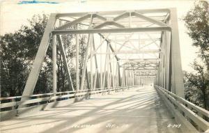 1953 Truss Girder Bridge Columbus Junction Iowa RPPC real photo 937 Cook