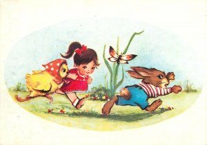 Postcard Greetings Romania fantasy child run butterfly rabbit chicken nature