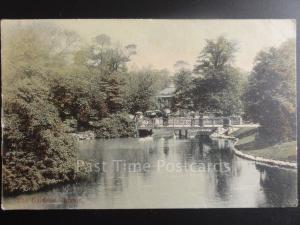 Derbyshire: Buxton THE GARDENS showing Footbridge & Bandstand, Old Postcard