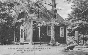 The Little Red School House & Old Pump in Sudbury, Massachusetts