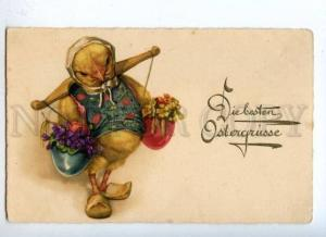 177520 EASTER Dressed CHICKEN Carrying pole VIOLETS Vintage PC