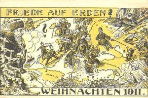 Christmas Santa Claus Political War 1911Peace on Earth German Postcard