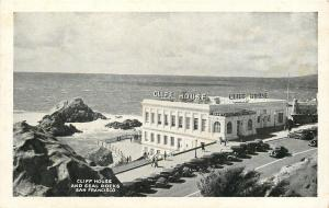 San Francisco~Cliff House~Seal Rocks~Camera Obscura~1920-30s Cars~B&W Postcard