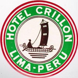 Peru Lima Hotel Crillon Vintage Luggage Label lbl0401