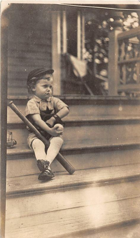 F25/ Interesting RPPC Photo Postcard? C1910 Basball Boy Hat Bat Ball Porch 21